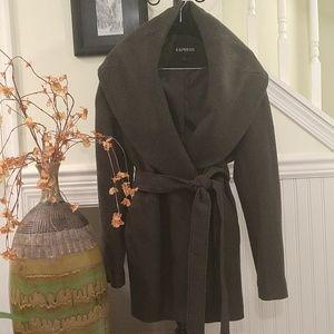 Express | Olive Wool Wrap Coat